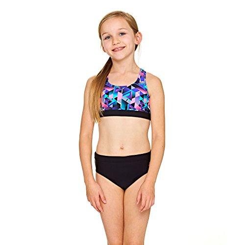 Zoggs Mädchen Kitch Chaos Muscle 2 Piece Bikini, Black/Multi-Colour, 10-11 Jahre