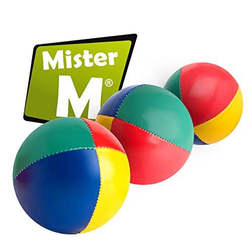 Mister M ✓ 3 Jonglier Bälle mit Naturfüllung ✓ mit online Lern online Video ✓ OHNE Jute Sack ✓ Das Ultimative 3 Ball Jonglier Set