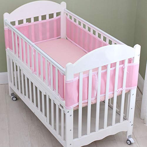 Classic Breathable Mesh Crib Bumper, Bumpers Pads for Baby Crib, Washable Baby Crib Liner - Pink