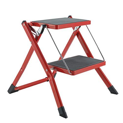 Gimify 2-traps kruk inklapbare trapladder mini trapladder van staal antislip robuust treden breed pedaal met draagbaar handvat gering gewicht voor kantoor in de keuken thuis (250 lbs) rood