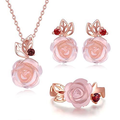 Set di Gioielli per Donna, Argento Sterling S925 Oro Rosa elettrolitico Gemme Naturali gioielleria per Il Regalo di Fidanzamento di Nozze, Viene Fornito con Confezione Regalo