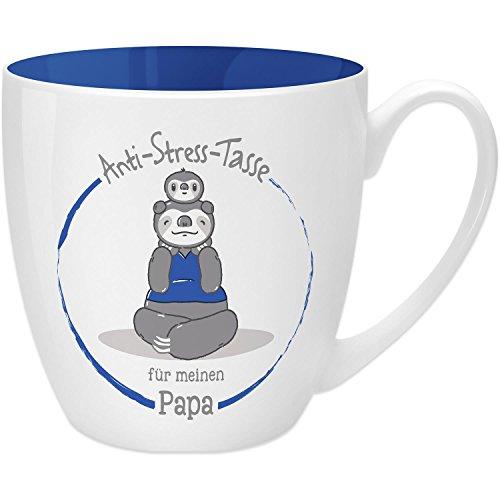 Gruss & Co 45504 Anti-Stress Tasse für Papa, 45 cl, Geschenk, New Bone China, Blau, 9.5 cm