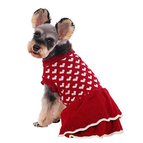 Kuoser Hundepullover, Herz-Pullover für Hunde, warm, Strickwaren, Weste, Rollkragenpullover, Hundemantel mit Loch für Leine, für kleine mittelgroße Hunde Welpen (XS-XL