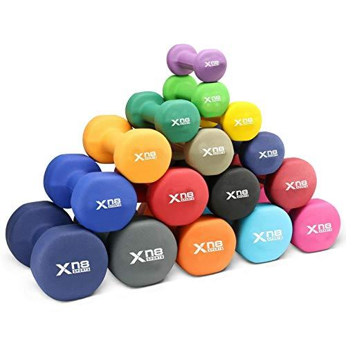 XN8 Neopren Hanteln 2er Set Hantelgewichte von 1-10 kg- Gewichte Kurzhantel Set für Gymnastik Aerobic Pilates Frauen Männer