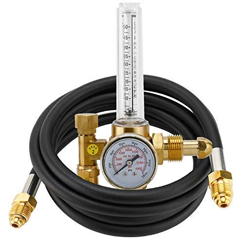 HighFree Argon Regulator TIG Welder MIG Welding CO2 Flowmeter 10 to 60 CFH - 0 to 4000 psi Pressure Gauge CGA580 Inlet Connection Gas Welder Welding Regulator