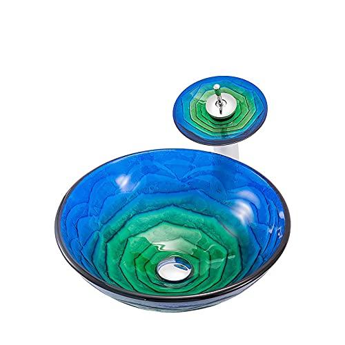 WXDL Lavabo Cristal Templado, Redonda Lavamanos de Baño Vidrio Templado Lavabo sobre Encimera con Grifo de Cascada, Desagüe Emergente, Tubo de Entrada,Negro