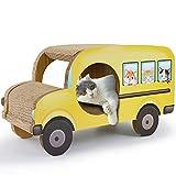 Unlxn Papel Corrugado Tablero De Juego para Gatos Sofá para Gatos Autobús Escolar Tablero para Rascar para Gatos Suministros para Gatos Tapete para Rascar para Autobuses De Rascar 26 * 35 * 61 Cm