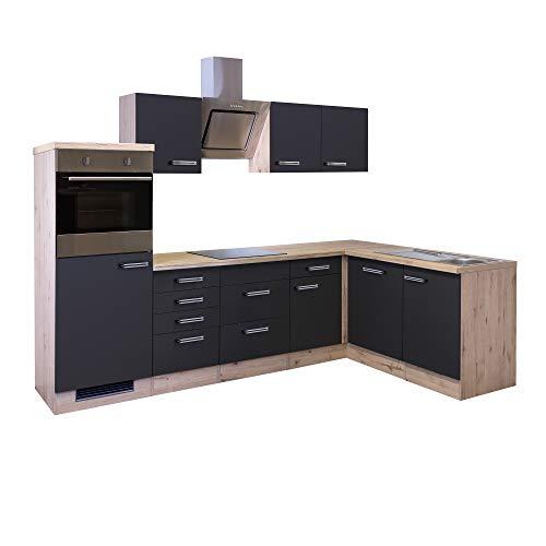 MMR Eckküche LONDON - L-Küche mit E-Geräten - Glaskeramik-Kochfeld - Breite 280 x 170 cm - Anthrazit