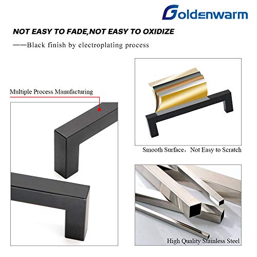 10Pack Goldenwarm Black Square Bar Cabinet Pull Drawer Handle Stainless Steel Modern Hardware for Kitchen and Bathroom Cabinets Cupboard,Center to Center 7-1/2in(192mm) Black Kitchen Drawer Pulls