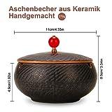 ONEDERZ Aschenbecher für Draußen mit Deckel, Keramik Windaschenbecher Geruchsdicht Sturmaschenbecher für Home Office Dekoration (Braun) - 3