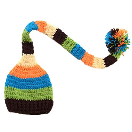 Kafeimali Baby Christmas Elf Long Tail Crochet Beanie Knit Hat Stocking Caps (Brown)