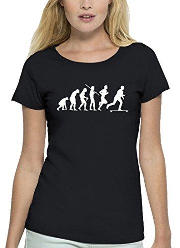 Longboarder Premium Damen T-Shirt Aus Bio Baumwolle Evolution Longboard Stanley Stella, Größe: M,Black