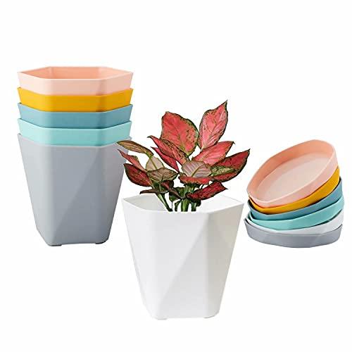 Paquete de 6 macetas para Plantas de Interior, macetas de plástico de 17cm con platillo, Maceta de jardín con Orificio de Drenaje y Bandeja para Flores, Hierbas, suculentas, Cactus - Multi