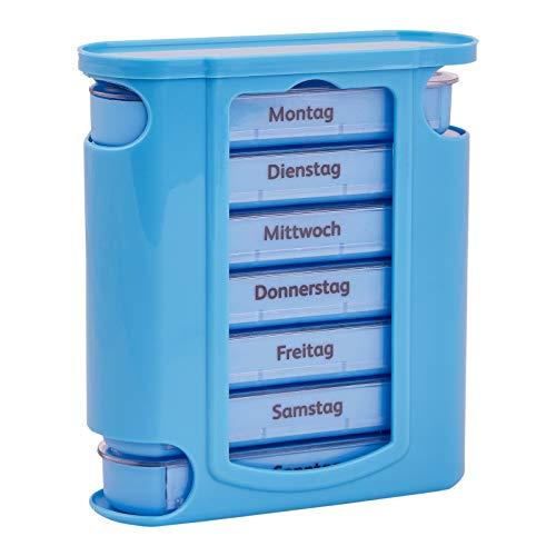 WELLGRO Tablettenbox für 7 Tage, je 4 Fächer pro Tag, 11 Farben zur Auswahl, Farbe:Hellblau