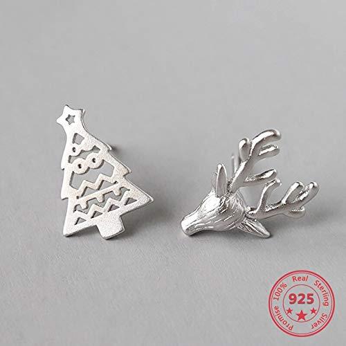 DJMJHG Plata de Ley 925 Ciervos y árbol de Navidad asimetría Pendientes Huecos joyería de Moda para Mujeres