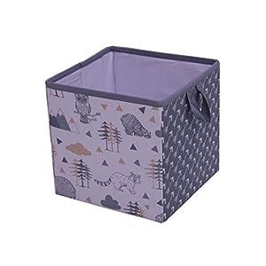 Bacati Woodlands Grey/Beige Neutral Cotton Storage Box Small, Beige/Grey
