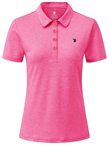 YSENTO Damen Golf Poloshirt Kurzarm Polohemd Schnelltrocknend Atmungsaktiv Sport Tennis Lady-Fit T-Shirts(Rose rot,M)