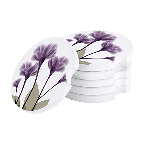 Set of 6 Absorbent Coasters for Car,Auto Cup Holder Coasters Car Accessories with Absorbent Coasters,Lavender Elegant Flowers Purple White,Suitable for Kinds of Any Vehicle,Small 2.56'