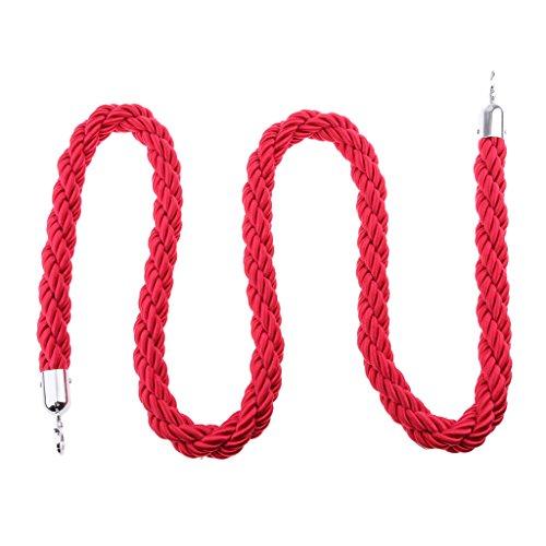 MagiDeal Cuerda de Barrera Torcida Nylon de Cola para Postes Montaje Multitud de Exposición - Rojo, 2m