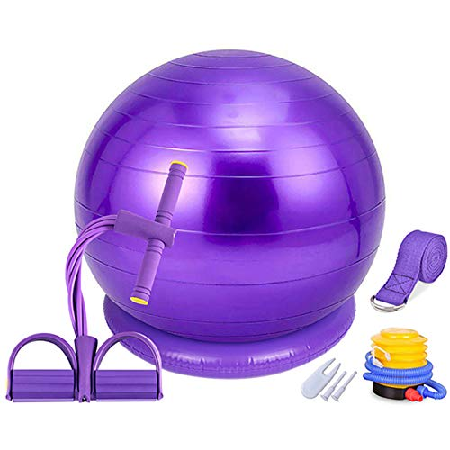 Fitball Set, Pelota Pilates Embarazadas, Asiento Estable, Cinturón de Yoga, Cuerda de Tracción Multifuncional, Bomba de Aire, Juego de Pelota de Fitness para Yoga, Equilibrio, Entrenamiento,Púrpura