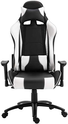 High Back Gaming Chair Office Chair – Pu Leatherette Upholstered Ergonomic 360 Swivel Game Chair with Lumbar Support and Headrest
