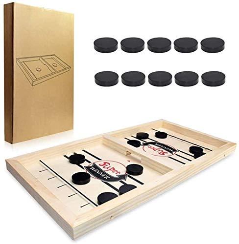 Wuudi Slingpuck Brettspiel Hockey Tischspiel für Kinder und Erwachsene tragbares Hockeyspielset für Familienfeier Geburtstagsgeschenk schwarz