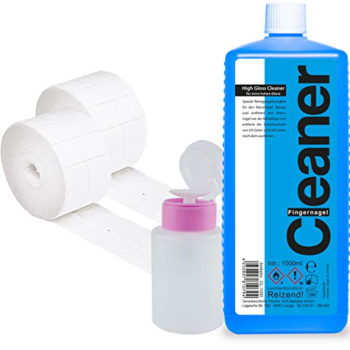 Cleaner Set 1000ml + Dispenser Pumpflasche + 1000 Zelletten Pads (2 Rollen je 500 Stück)