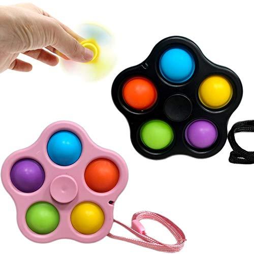 KFGJ 2 en 1 Fidget Spinner, Push Pop Bubble Sensory Fidget Toy Stress Relief, Juguetes Simples De Hoyuelos Fidget, Alivio del Estrés y Juguetes Sensoriales Anti-ansiedad para Niños y Adultos A6