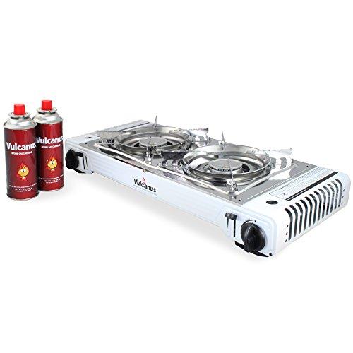 Vulcanus LMSD-5800 Portable Double Burner Gas Stove.26'x11.3'x5' Gas-1 Butane Gas Cartridge(2-CAN)