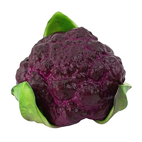 letaowl Künstliche Früchte Künstliches Gemüse lebensechte realistische Blumenkohl künstliche Lebensmittel Wohnkultur Gemüse (Color : Purple Green)