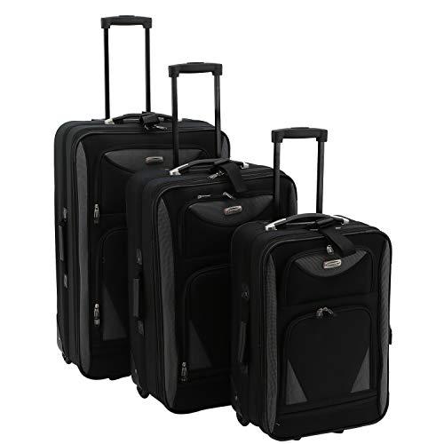 Travelers Club Skyview II Softside Luggage Set, Black, 3-Piece (20/24/28)