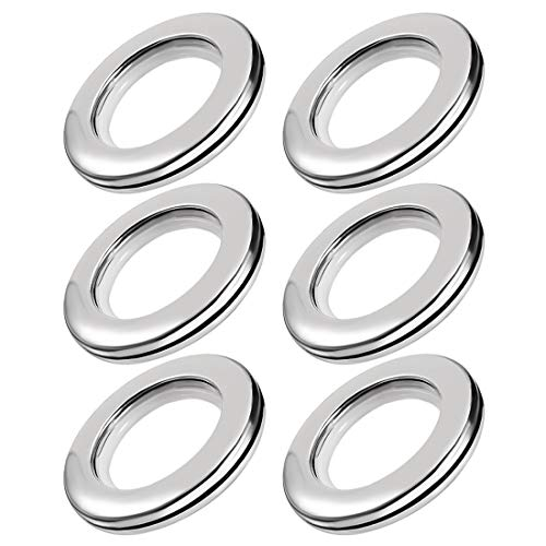 Sourcingmap Curtain Grommets Plastic 1.5 Inch Inner Dia Drapery Eyelet Rings for Window Curtain Rods Silver Tone 6 Pcs