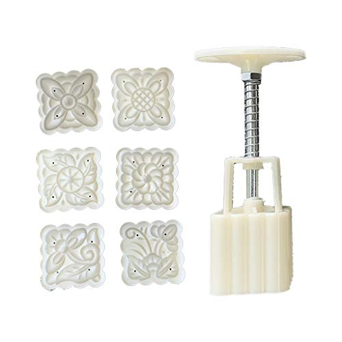 goneryisour 50g 3D Mooncake Mold with 6 Square Flower Stamps for Cake Pastry,Hand Press,2 Pattern