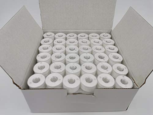 144pcs Prewound Bobbins Size A for Domestic Sewing/Embroidery Machines, fit with Brother Embroidery Machines, Plastic Sided, Size A, Class 15, 15J, SA156, White Color, 100% Polyester, 60S/2 100 Yards