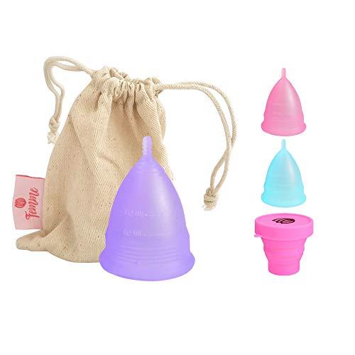 Coppetta Mestruale Femme Essentials | 100% Silicone per Uso Medico | Ecologica, Sicura, Ipoallergenica e Comoda | Taglia: Small | In Omaggio un Sacchetto di Cotone per il Trasporto | Colore: Lilla