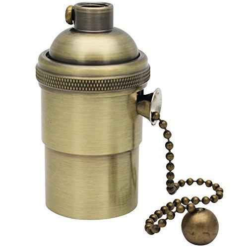 VintageⅢ Kupfer Lampenfassung Edison Pendelleuchte Hängelampe Halter Lampe Vintage mit Pull Kette für DIY Zubehör Bronze
