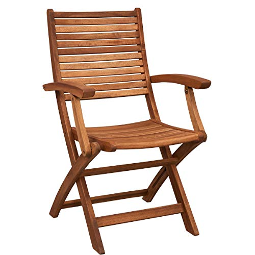 Butlers Somerset Gartenstuhl mit Armlehne aus Holz 54x63x90 cm - klappbarer Holzstuhl aus FSC-Akazienholz - Balkonstuhl