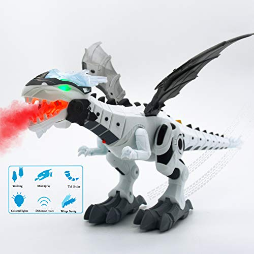 Dinosaur Toys, Robot Toys, Walking Robot Dinosaur Toys for Kids Boys Girls Gift - Water Mist Spray with Red Light & Realistic Sounds