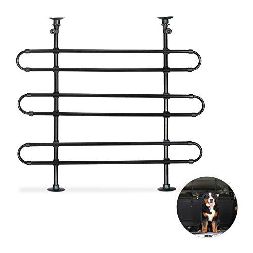 Relaxdays Hundegitter Auto, Schutzgitter Hund, zum Klemmen, Universal Trenngitter, Höhe und Breite verstellbar, schwarz