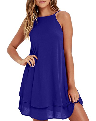 Style Dome Sommerkleid Damen Ärmellos Rückfrei Einfarbig Strand Casual Träger Mini Kleid Blau-668107 S