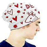 Sombrero Navidad Ciervos de Navidad Regalo Divertido Gorro Chica Cráneo cálido Sombrero de Punto Unisex Slouchy Soft Kid Cap Negro