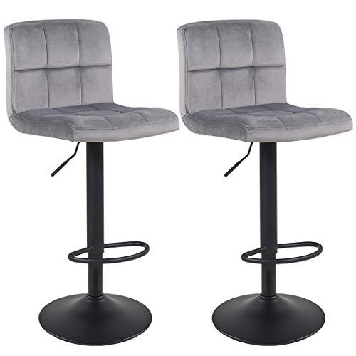 Duhome Barhocker 2X Barstuhl Kunstleder oder Stoff Tresenhocker Bar Sessel gut gepolstert höhenverstellbar mit Lehne eckig 451Y, Farbe:Grau, Material:Samt