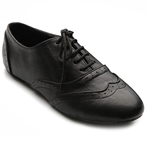 Ollio Womens Shoe Classic Lace Up Dress Low Flats Heel Oxford ZM1914(7.5 B(M) US, Black)