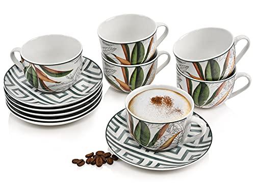 Sänger Kaffeetassen SetTaimali12teiligesTee-Service für 4 Personen aus Steingut,Tassen und Untertassen, erweiterbar, Alltag, besonderes Dinner, Outdoor,Becher-SetIllustrationen