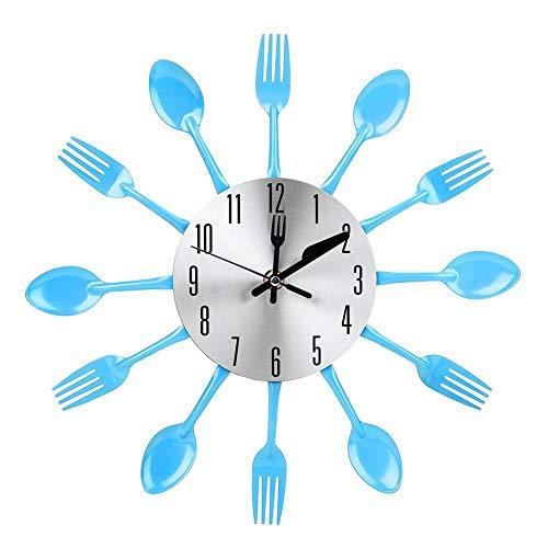 Niunion Wanduhr, Noiseless Edelstahl Besteck Uhrenmesser und Gabel Löffel Wanduhr Küchendekoration Wanduhr Gabel Wanduhr Blau Wanduhr Edelstahl Wanduhr Besteck(Blau)
