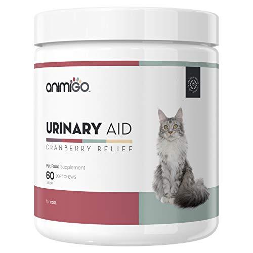 Urinary Aid Snacks für Katzen - Tabletten gegen Urin Probleme & Blasenentzündung, Mittel mit Echinacea & Bierhefe, Vitamine für die Harn Gesundheit der Katze, Cranberry Vitamin Komplex - 60 Stk.