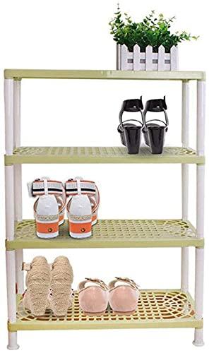 ZAIHW Zapatero, Armario de Almacenamiento, Pasillo, 4 Niveles, Organizador de plástico, estantes, Montaje Ligero de Bricolaje, Taburete para Cambiar Zapatos a Prueba de Polvo