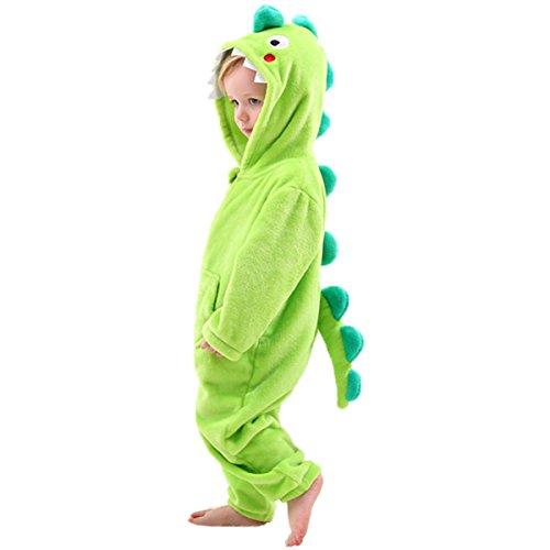 Déguisement Dinosaure Enfant, Pyjama à Capuche en Molleton, Cadeau d'anniversaire de Noël pour Garçons Filles, Vert, 2-3 Ans, S