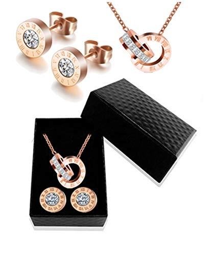 ZYQXB - Collar y pendientes con números romanos (color metal: oro rosa)