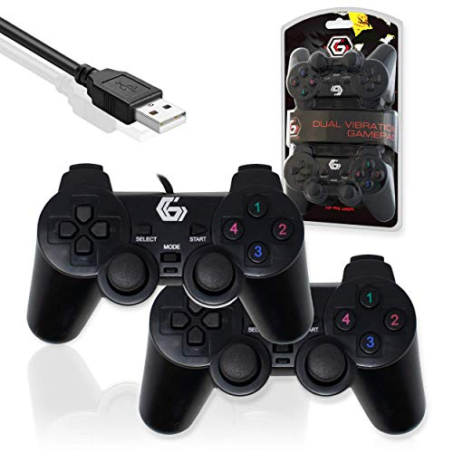 I-CHOOSE LIMITED Doppio Gamepad USB a Doppia Vibrazione/2 Gamepad su 1 USB/Gioco Joypad Controller per PC DVD (Windows 7/8/10)